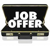 Job Offer 3D Words Black Briefcase New Career Opportunity