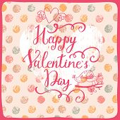 Happy Valentines Day. Stylish holiday card in vector. Bright concept background