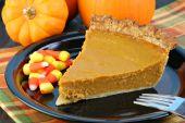 Pumpkin Pie Slice, Candy Corn, And Autumn Pumpkins.