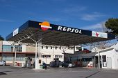 VALENCIA, SPAIN - JANUARY 21, 2014: A Repsol gas station in Valencia. Repsol is a Spanish multinational oil and gas company based in Madrid. It is the 15th largest fuel refining company in the world.