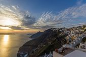 View on Fira in Santorini Greece at sunset
