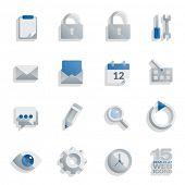 Semi flat web icons set of 15 vector design elements isolated on white background. Easily editable w
