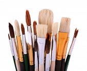 Many brushes isolated on white