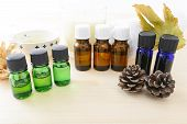 stock photo of fragrance  - Essential oils of the good fragrance on the table - JPG