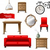 Highly detailed living room furniture icons