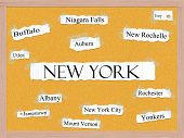 New York State Corkboard Word Concept