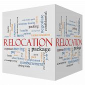 picture of reimbursement  - Relocation 3D cube Word Cloud Concept with great terms such as package moving expenses and more - JPG