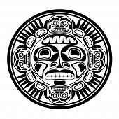 stock photo of indian totem pole  - Vector illustration of the sun symbol - JPG