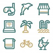 Vacation web icons, two color series