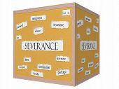 Severance 3D Cube Corkboard Word Concept