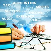 stock photo of financial audit  - Hands of business people with calculator collage background - JPG