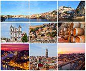 Set of photos with city views of Porto Portugal