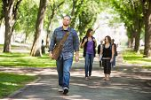 Full length of confident male grad student walking on campus road with friends in background