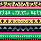 Aztec tribal seamless pattern with monsters in colour