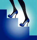 Female legs in blue shoes and stockings in a grid