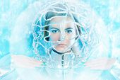 pic of sci-fi  - Beautiful young woman in silver latex costume with futuristic hairstyle and make - JPG