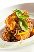 Shrimps with Buckwheat Noodles and Dijon Sauce