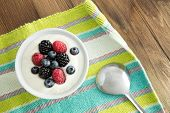 Delicious Yogurt And Fresh Berries For Breakfast