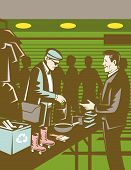 People in indoor  swap meet buying and selling