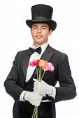 magic, performance, circus, show concept - magician with flowers