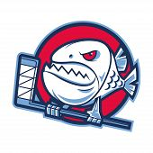 Emblem aggressive piranha holds hockey stick