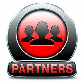 Partners button our business partnership and cooperation group in team work