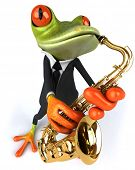 picture of saxophones  - Frog and saxophone - JPG