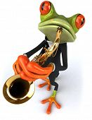Frog and saxophone