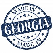 Made In Georgia Blue Round Grunge Isolated Stamp