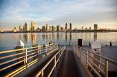 The ferry pier in Coronado with the city of San Diego in the background.