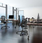 picture of workstation  - Home office in a coastal apartment with wraparound glass  - JPG