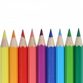 School Supplies Colored Pencils In A Row With Copyspace