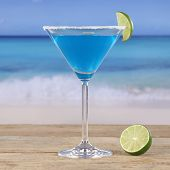 Blue Curacao Cocktail Drink On The Beach