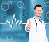Doctor on hospital background
