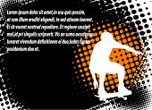 skateboarder on the abstract halftone background