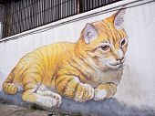 Giant Cat Mural In Georgetown, Penang, Malaysia