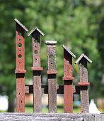 Abstract birdhouse yard art