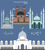 set mosque in flat style. vector design