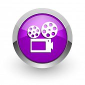 movie pink glossy web icon