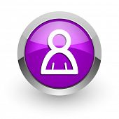 person pink glossy web icon