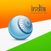 stock photo of asoka  - Beautiful blue globe with Asoka wheel with stylish text India on national tricolors background for Independence Day celebrations - JPG