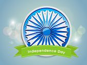 Beautiful sticky with Ashoka wheel and green ribbon on shiny blue background for Independence Day ce