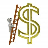 White Business Man Climbs The Ladder To Gold Dollar Symbol