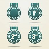 Set Of Badges With Ribbons.