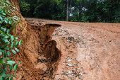 stock photo of landslide  - Road Landslide Damage in rural north Thailand - JPG