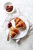 Croissant with Rhubarb Jam ona Plate