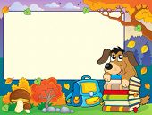 Autumn frame with dog and books - eps10 vector illustration.