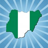 Nigeria map flag on blue sunburst illustration