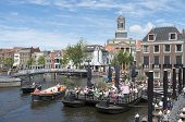 Netherlands - Leiden - Circa June 2014: People On A Terrace In The Center Of Leiden.