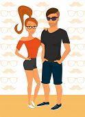 Hipster guy and his smiling girlfriend wearing red hair and glasses